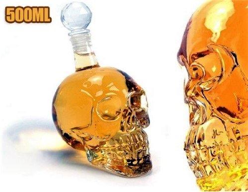 Summarytip Skull Head Vodka Shot Whiskey Wine Drinking Glass Bottle Decanter Skull Shaped Wine Bottle 500 ml Transparent 500 ml Transparent