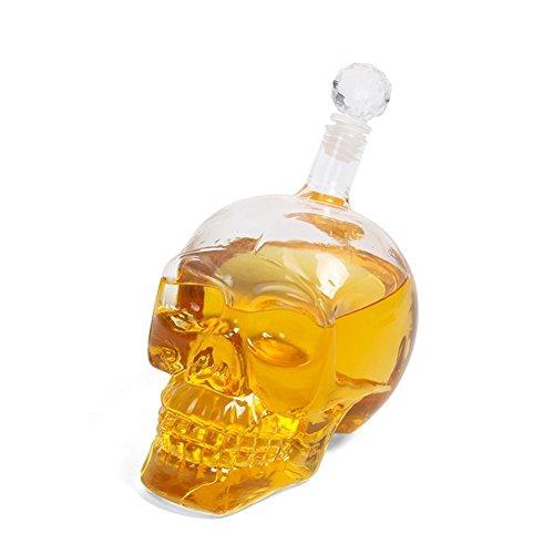 Zeroyoyo 1000ml Novelty Crystal Skull Head Vodka Shot Whiskey Wine Drinking Glass Bottle Wine Decanter