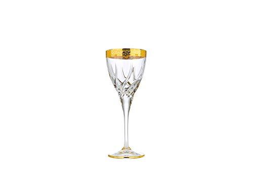 Art Decor A1037 7 Oz Wine Glasses wGold Rim Stemmed Cabernet Goblets Set of 6