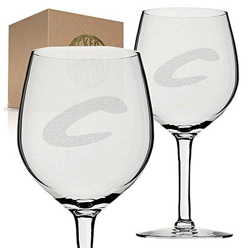 Stickerslug Engraved Letter C Style 07 Wine Glasses 11 ounce Set of 2