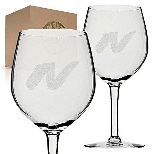 Stickerslug Engraved Letter N Style 07 Wine Glasses 11 ounce Set of 2