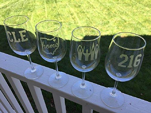 Cleveland Glasses - Cleveland Wine Glasses 4 Etched Wine Glasses - Cleveland - Buckeyes - Cleveland Gift - Barware
