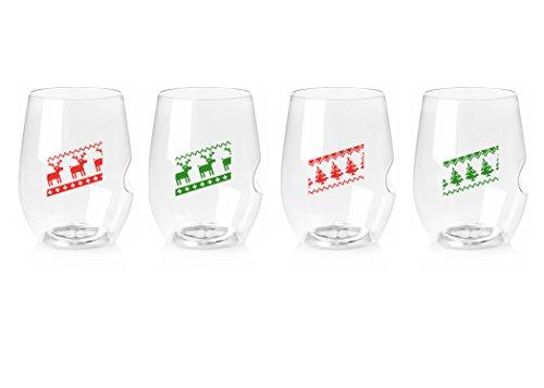 Govino 16 Ounce Dishwasher Safe Wine Glasses 4 Pack – Custom Holiday Sweaters