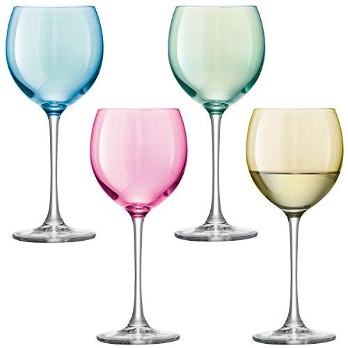 LSA International Pastel Polka Wine Glass 4 Pack 135 fl oz Assorted