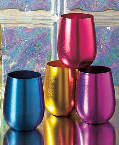Stemless Wine Glasses Retro Colored Shatterproof Set of 4