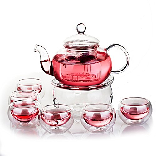 Jusalpha Glass Filtering Tea Maker Teapot with a Warmer and 6 Tea Cups Set Version 1 27 OZ