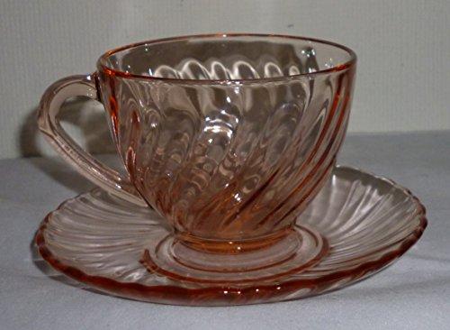 Arcoroc France Rosaline Swirl Pink Tea Cup Saucer Set