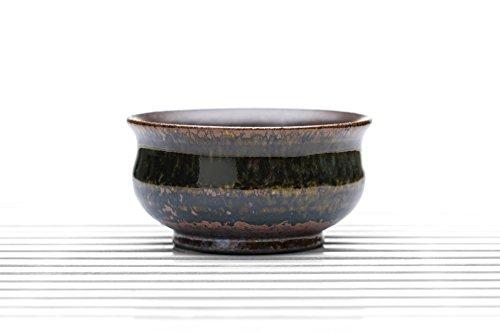 Ceramic Tea Bowl Cup Clay Teacup Brown Oil Spot Glaze Chinese Teaware dark brown 28 oz