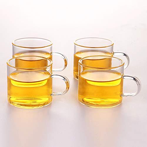 Glass Tea Cup Coffee Mug - OBOR Clear Borosilicate Small Glass Cups Set of 4 4oz120ml Capacity Small Coffee Cups