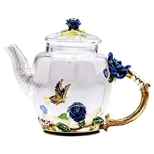 Glass Teapot Tea Set Handmade Heat-Resistant Glass Teapot Cups Set Business Simple Tea Set-blue-A