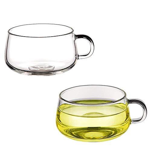 Transparent Glass Handle Coffee Cup High Boron Glass Glass Teacup 10 oz Set of 2