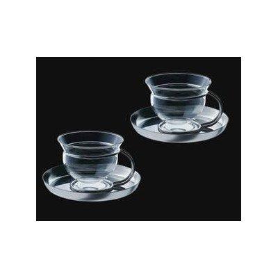 mono Mono Filio Glass Teacups with Saucer Set of 2 by Tassilo von Grolman