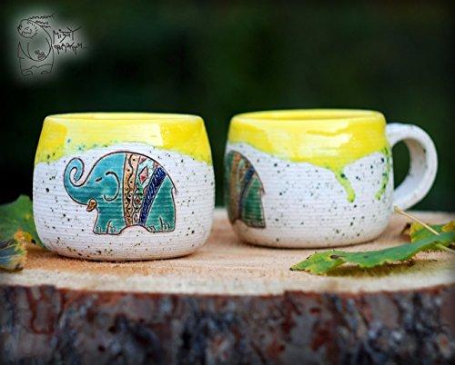 Handmade ceramic mug with handle 400ml13 Oz Yellow cup with elephant Gift Pottery teacup Pottery mug Yellow elephant decor house warming gift