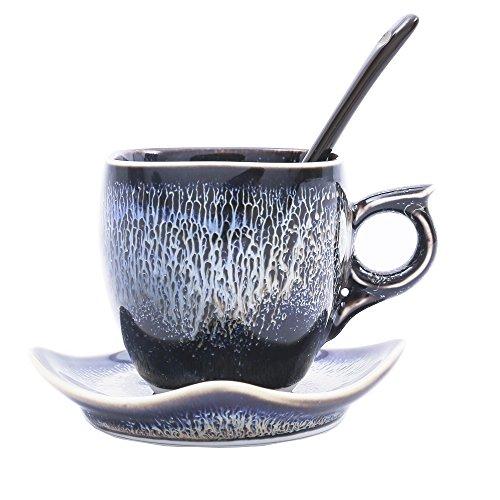 3 Piece Espresso Set Blue Glaze Ceramics Square Cup Set With Saucers and Spoon Coffee Tea Cup Set Large 59 oz