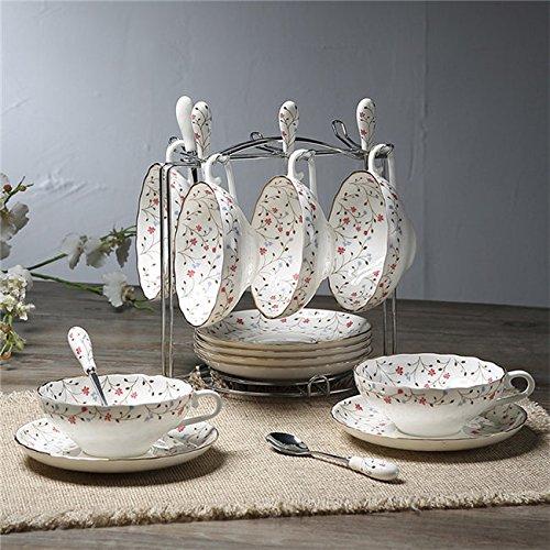Bone China Coffee Cups Lover Couple Mugs Ceramic Tea Cup Saucer Set Advanced Porcelain Mug For Gift Set of 6 34