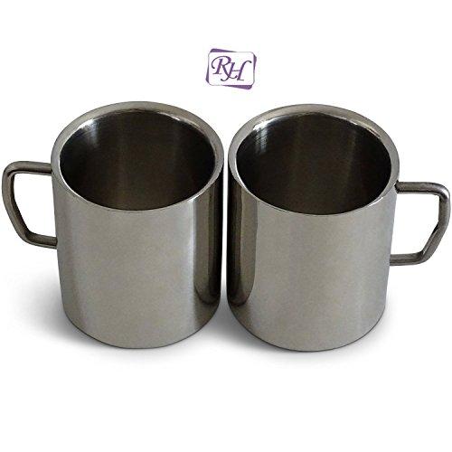 Rastogi Handicrafts Coffee Mug Desk Mug Double Insulated Drinking Cups for Children Double Wall Food Grade Durable Safe - 2 PACK 2