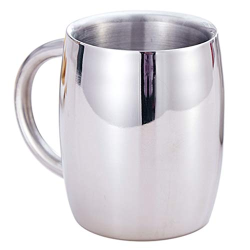 Coffee Cups Mugs Bar Stainless Steel Beer Mug Household Large Capacity Coffee Cup Office Stainless Steel Cup Hotel Restaurant Double Insulated Cup Color  Silver Size  300ml