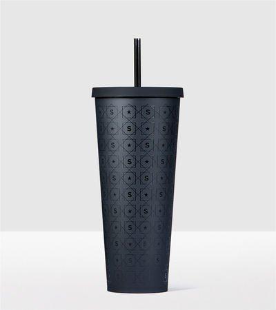 Starbucks Matte Black Pattern Cold Cup Acrylic Travel Tumbler Venti 24 fl oz
