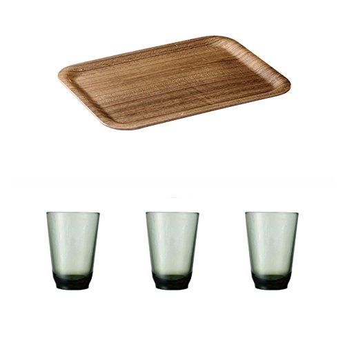 KINTO 106 inch Nonslip Rectangular Teak Tray and Three HIBI 350ml Green Glass Tumbler Set of 4