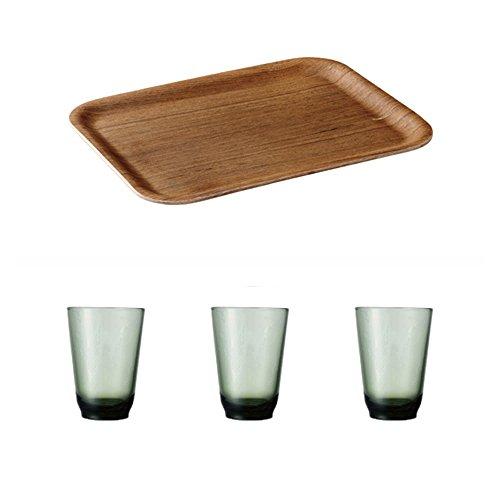 KINTO 12 6 inch Nonslip Rectangular Teak Tray and Three HIBI 350ml Green Glass Tumbler Set of 4