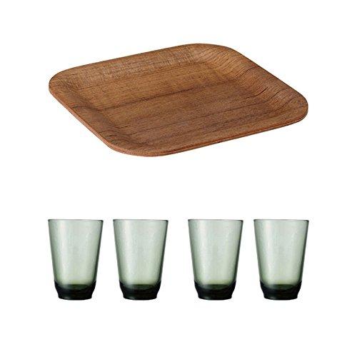 KINTO 63 inch Nonslip Square Teak Tray and Four HIBI 350ml Green Glass Tumbler Set of 5
