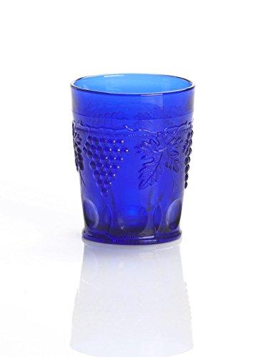Cobalt Blue Glass Tumbler Grape Cable Pattern