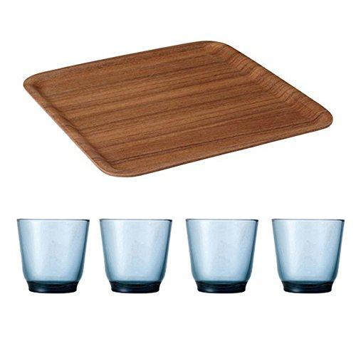 KINTO 126 inch Nonslip Square Teak Tray and Four HIBI 220ml Blue Glass Tumbler Set of 5