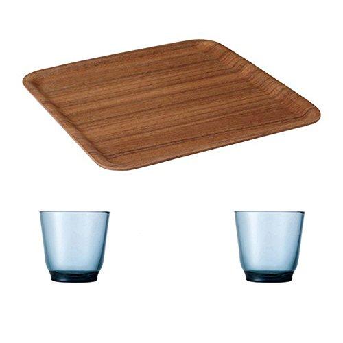 KINTO 126 inch Nonslip Square Teak Tray and Two HIBI 220ml Blue Glass Tumbler Set of 3