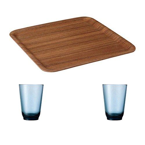 KINTO 126 inch Nonslip Square Teak Tray and Two HIBI 350ml Blue Glass Tumbler Set of 3