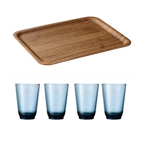 KINTO 142 inch Nonslip Rectangular Teak Tray and Four HIBI 350ml Blue Glass Tumbler Set of 5