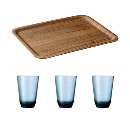 KINTO 142 inch Nonslip Rectangular Teak Tray and Three HIBI 350ml Blue Glass Tumbler Set of 4