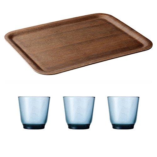 KINTO 17 inch Nonslip Rectangular Teak Tray and Three HIBI 220ml Blue Glass Tumbler Set of 4