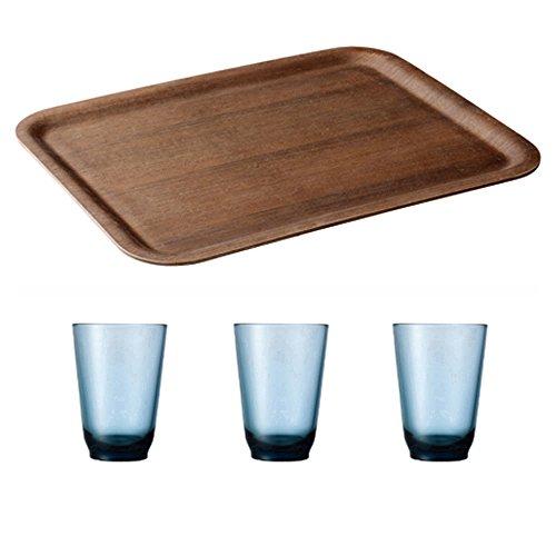 KINTO 17 inch Nonslip Rectangular Teak Tray and Three HIBI 350ml Blue Glass Tumbler Set of 4