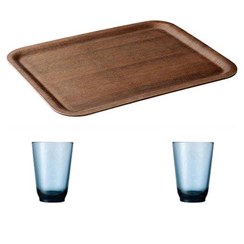KINTO 17 inch Nonslip Rectangular Teak Tray and Two HIBI 350ml Blue Glass Tumbler Set of 3