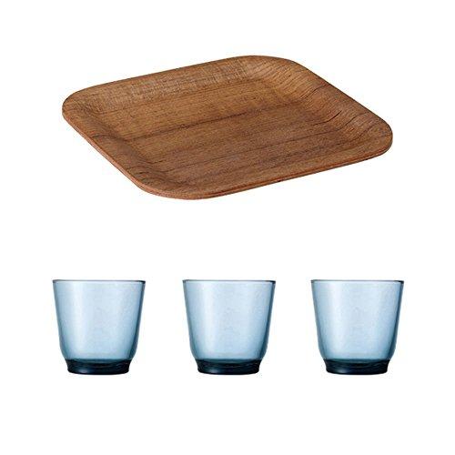 KINTO 63 inch Nonslip Square Teak Tray and Three HIBI 220ml Blue Glass Tumbler Set of 4