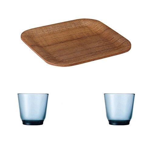 KINTO 63 inch Nonslip Square Teak Tray and Two HIBI 220ml Blue Glass Tumbler Set of 3
