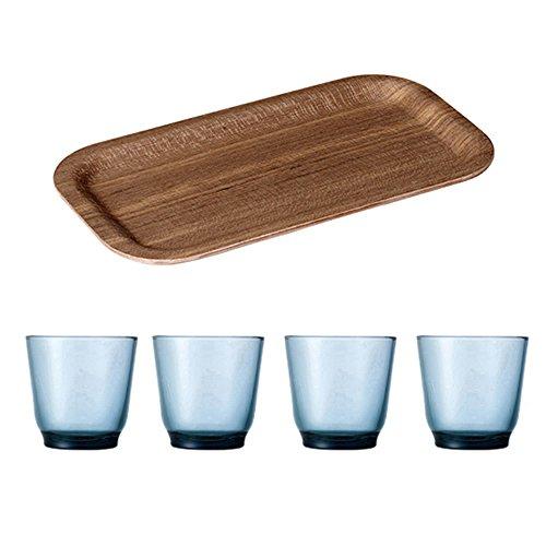 KINTO 87 inch Nonslip Slim Teak Tray and Four HIBI 220ml Blue Glass Tumbler Set of 5