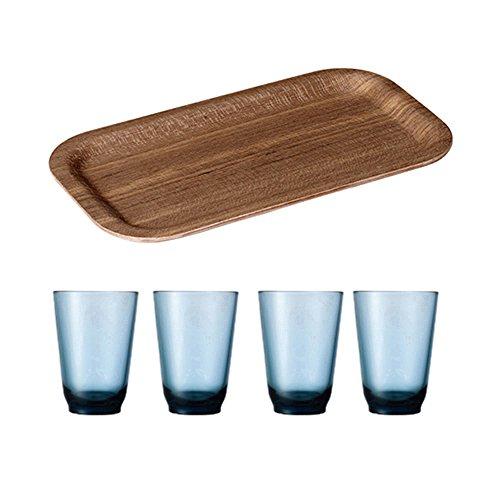 KINTO 87 inch Nonslip Slim Teak Tray and Four HIBI 350ml Blue Glass Tumbler Set of 5