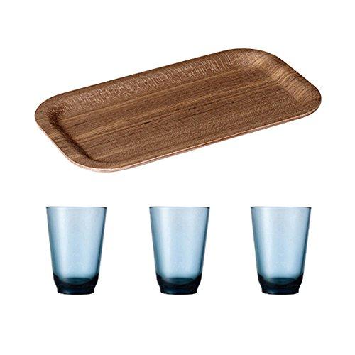 KINTO 87 inch Nonslip Slim Teak Tray and Three HIBI 350ml Blue Glass Tumbler Set of 4