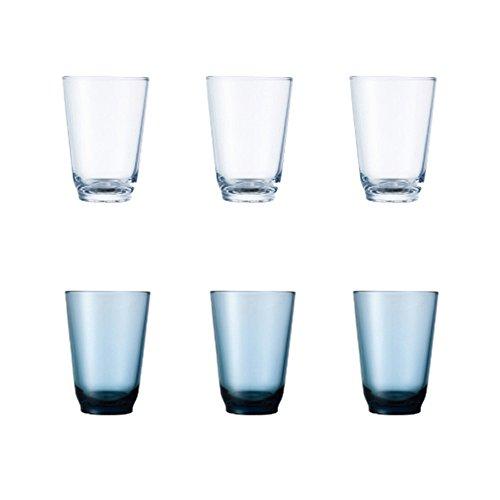 KINTO HIBI 350 ml Clear and Blue Glass Tumbler Set of 6