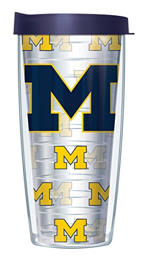 University Of Michigan Logo On Clear Wrap Traveler 16 Oz Tumbler Cup with Navy Lid