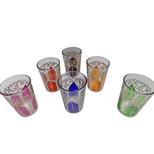 6 Piece Set of Small Artisan Moroccan Tea Glasses Cup Shot Wine Tumbler