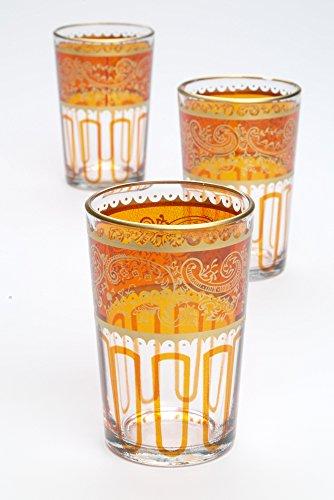 Casablanca Market Moroccan Essaouira Tea Glasses 4-Inch by 25-Inch Orange Set of 6