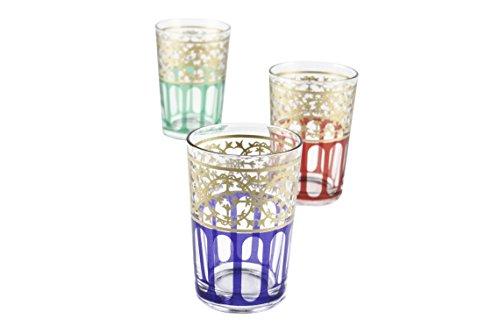 Casablanca Market Moroccan Moorish Design Tea Glasses Multicolored Set of 6