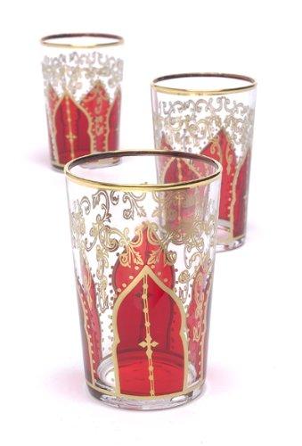 Casablanca Market Moroccan Tamansour Tea Glasses Red Set of 6