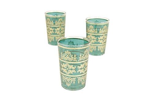 Casablanca Market Moroccan Tunis Tea Glasses 4-Inch by 25-Inch Aquamarine Set of 6