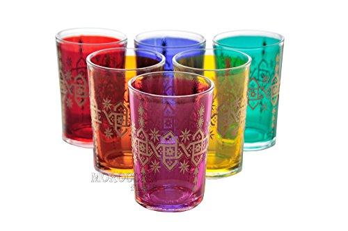 Moroccan Tea Glasses Set of 6 Multiple Colors