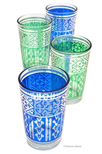 Set 4 Silver Blue Green Ornate 8 oz Moroccan Tea Glasses in Gift Box