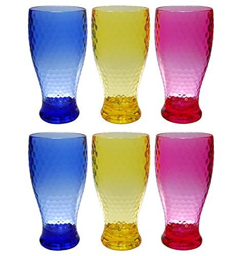 QG 21 oz Colorful Beehive Acrylic Drinking Glass Ice Tea Cup Plastic Tumbler Set of 6
