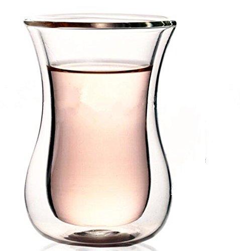 Double Walled Glass - Tea Glass Coffee Mug Set of 6 - 68 Fl Oz 200 Ml Capacity - Excellent Tea Mug or Coffee Mug